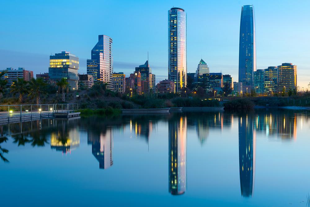 Skyline of buildings at Las Condes district, Santiago de Chile