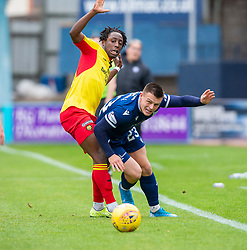 Partick Thistle's Osman Kakay and Dundee's Jordan Marshall. half time : Dundee 1 v 0 Partick Thistle, Scottish Championship game player 19/10/2019 at Dundee stadium Dens Park.