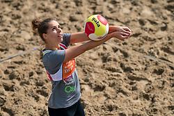 Esther van Berkel in action. The DELA NK Beach volleyball for men and women will be played in The Hague Beach Stadium on the beach of Scheveningen on 22 July 2020 in Zaandam.