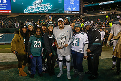 Philadelphia Eagles free safety Rodney McLeod #23 and his guests pose with the NFC Championship Trophy after the NFL NFC Championship game between The Minnesota Vikings and The Philadelphia Eagles at Lincoln Financial Field in Philadelphia on Sunday, January 21st 2018. (Brian Garfinkel/Philadelphia Eagles)