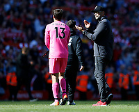Football - 2018 / 2019 Premier League - Liverpool vs. Wolverhampton Wanderers <br /> <br /> Jurgen Klopp manager of Liverpool and Alisson Becker of Liverpool at full time, at Anfield<br /> <br /> COLORSPORT/BRUCE WHITE
