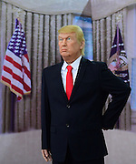 Are these the worst wax figures you've seen? Trump, Kim Jong-un and Putin's comical dummies <br /> <br /> Donald Trump has been immortalised in a new wax work exhibition in China, with his signature tan and blonde coiffure given an extra bit of pizzazz.<br /> <br /> The U.S. president-inspired dummy boasts a generous sweep of very yellow hair with what appears to be the start of sideburns. His tan seems to be even more radiant than in real life, setting off his cold-blue glass eyes. There is a line on his neck, seemingly where his head and body were connected or an intended roll of fat.<br /> <br /> North Korea ruler Kim Jong-Un and Russian president Vladimir Putin are the other world leaders to feature in the new exhibit - their figurines equally comical to look at.<br /> It appears that they have been treated with the same bronzer as Trump, with their waxy guises glowing.<br /> <br /> All three men have been dressed in their standard outfits.<br /> <br /> The model of Trump is seen wearing a black suit, white shirt and Republican-red tie.<br /> <br /> Putin appears wearing a charcoal grey suit while Kim Jong-Un stands motionless dressed in a round necked black jacket.<br /> Along with the world leaders, there are a host of celebrities who have been cast in wax.<br /> <br /> Among the line up is a gun-wielding Arnold Schwarzenegger, a gaunt Michael Jackson, a cross-eyed Rowan Atkinson and smiley Jackie Chan.<br /> <br /> One stand also features models of Harry Potter and Lord Voldemort, midway through a wand flight. <br /> <br /> For those of you who want to get close to these static world leaders and A-listers, the exhibition is currently being held at the Liaoning Industrial Exhibition Hall in Shenyang, northeast China.<br /> ©Exclusivepix Media