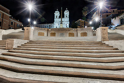 Spanish Steps with church lit up at night, Piazza di Spagna, Rome, Italy