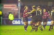 Gloucester, Gloucestershire, UK., 04.01.2003, [L] Andy GOMARSALL, [R] Trevor LEOTA, after the Zurich Premiership Rugby match, Gloucester vs London Wasps,  Kingsholm Stadium,  [Mandatory Credit: Peter Spurrier/Intersport Images],