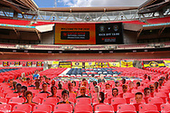 General View inside Wembley Stadium during the Vanarama National League Promotion Final match between Harrogate Town and Notts County at Wembley Stadium, London, England on 2 August 2020.