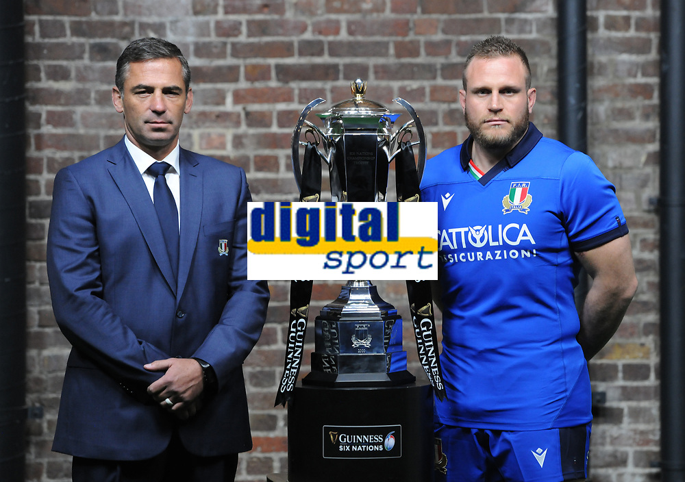 Rugby Union - 2020 Guinness Six Nations Launch Press Conference - Tobacco Dock, London<br /> <br /> Italy coach, Franco Smith and Captain, Luca Bigi of Italy <br /> <br /> COLORSPORT/ANDREW COWIE
