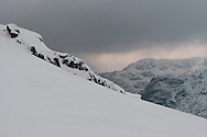 Winter view across to Slight Side (Scafell) from Esk Pike