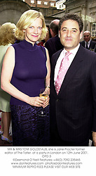 MR & MRS TOM GOLDSTAUB, she is Jane Procter former editor of The Tatler. at a party in London on 12th June 2001.OPD 3