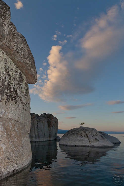 """""""Tahoe Boulders at Sunrise 12"""" - These boulders were photographed at sunrise near Speedboat Beach, Lake Tahoe. Photographed from a kayak."""