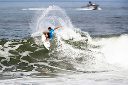 Seth Moniz of Hawaii advances to round 4 after placing first in round 3 heat 6 of the 2018 Hawaiian Pro at Haleiwa, Oahu, Hawaii, USA.