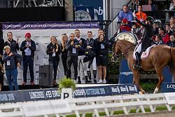 DUFOUR Cathrine (DEN), ATTERUPGAARDS CASSIDY, Kjeld Kirk Kristiansen (Gestüt Blue Hors)<br /> Rotterdam - Europameisterschaft Dressur, Springen und Para-Dressur 2019<br /> Longines FEI Dressage European Championship <br /> Grand Prix Special<br /> 22. August 2019<br /> © www.sportfotos-lafrentz.de/Stefan Lafrentz