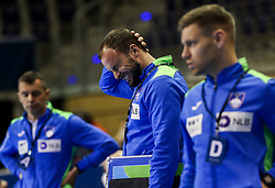 Uros Zorman, assistant coach of Slovenia reacts after the handball match between National Teams of Sweden and Slovenia at Day 3 of IHF Men's Tokyo Olympic  Qualification tournament, on March 14, 2021 in Max-Schmeling-Halle, Berlin, Germany. Photo by Vid Ponikvar / Sportida