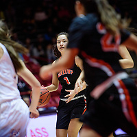 Gallup Bengal Ashley Antone (1) brings the ball up the court while playing the Bloomfield Bobcats during a District 5A semifinal at The Pit in Albuquerque Thursday.  The Bengals fell to the Bobcats 59-56.