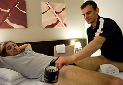 Robert Kristan and Physiotherapist Urban Komac of Slovenian National Ice Hockey team in a massage room in the hotel Holiday Inn at IIHF 2011 World Championship Slovakia, on May 4, 2011 in Bratislava, Slovakia. (Photo By Vid Ponikvar / Sportida.com)
