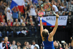 November 10, 2018 - Prague, Czech Republic - BARBORA STRYCOVA of the Czech Republic celebrate after winnig game during the 2018 Fed Cup Final between the Czech Republic and the United States of America in Prague. (Credit Image: © Slavek Ruta/ZUMA Wire)