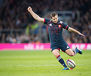 Twickenham, United Kingdom.  Camille LOPEZ, kicking a first half, Penalty, durt the RBS. Six Nations : England   vs France  at the  RFU Stadium, Twickenham, England, <br /> <br /> Saturday  04/02/2017<br /> <br /> [Mandatory Credit; Peter Spurrier/Intersport-images]