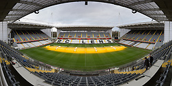 LENS, FRANCE - Wednesday, January 27, 2016: The technical area of the Stade Felix Bollaert, home of RC Lens, during an inspection visit ahead of the UEFA Euro 2016 Tournament. (Pic by David Rawcliffe/Propaganda)