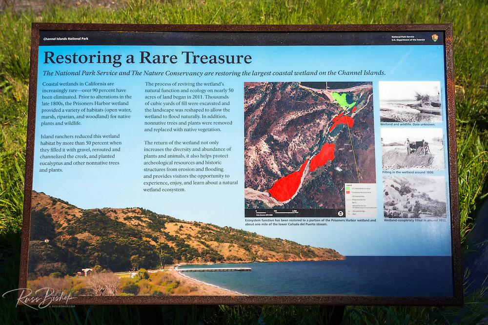Wetland interpretive sign at Prisoner's Harbor, Santa Cruz Island, Channel Islands National Park, California USA
