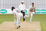 Chris Wright bowling to Chris Dent during the Specsavers County Champ Div 2 match between Leicestershire County Cricket Club and Gloucestershire County Cricket Club at the Fischer County Ground, Grace Road, Leicester, United Kingdom on 18 June 2019.