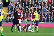 Idrissa Gueye of Everton receives a yellow card from referee  Mike Jones after his tackle on Scott Arfield of Burnley. Premier League match, Burnley v Everton at Turf Moor in Burnley , Lancs on Saturday 22nd October 2016.<br /> pic by Chris Stading, Andrew Orchard sports photography.