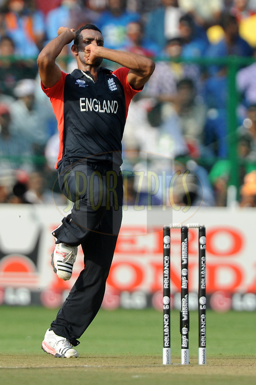 Ajmal Shahzad of England bowls during the ICC Cricket World Cup match between India and England held at the M Chinnaswamy Stadium in Bengaluru, Bangalore, Karnataka, India on the 27th February 2011..Photo by Pal Pillai/BCCI/SPORTZPICS
