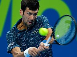 January 03, 2019 - Doha, Qatar - NOVAK DJOKOVIC of Serbia returns the ball to N. Basilashvili of Georgia during their Quarter - Final of ATP Qatar Open Tennis match at the Khalifa International Tennis Complex. Novak Djokovic won 2-1  (Credit Image: © Nikku/Xinhua via ZUMA Wire)