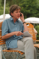 "16 JUL 1999 - LINZ, GERMANY:<br /> Sigrid Krampitz, Leiterin des Kanzlerbüros, telefoniert mit dem Handy, während der SPD Radtour ""Abschied vom Rhein"", der Brauerei Steffens<br /> Sigrid Krampitz, director of the department of the Fed. Chancellor of germany, is callig by a mobil,  a trip with a part of the SPD parliamentary group to a ""Goodbye from Rhine"" tour <br /> IMAGE: 19990716-01/14-26<br /> KEYWORDS: Telefon, telephone, Mobiltelefon, phone"