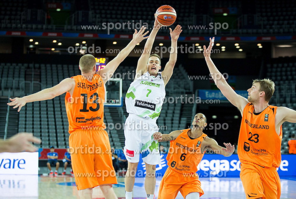Klemen Prepelic of Slovenia vs Rowland Schaftenaar of Netherlands, Worthy de Jong of Netherlands and Henk Norel of Netherlands during basketball match between Slovenia vs Netherlands at Day 4 in Group C of FIBA Europe Eurobasket 2015, on September 8, 2015, in Arena Zagreb, Croatia. Photo by Vid Ponikvar / Sportida