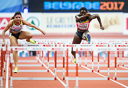 Anne Zagré of Belgium competes in the Women's 60 metres Hurdles heats on day one of the 2017 European Athletics Indoor Championships at the Kombank Arena on March 3, 2017 in Belgrade, Serbia. Photo by Vid Ponikvar / Sportida