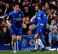 Photo: Daniel Hambury.<br />Chelsea v Liverpool. The Barclays Premiership. 05/02/2006.<br />Chelsea's Hernan Crespo celebrates scoring the second goal.