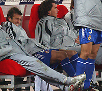 Photo. Daniel Hambury, Digitalsport<br /> Juventus v Real Madrid. 09/03/2005.<br /> UEFA Champions league.<br /> Madrid's David Beckham winces with pain after being substituted.
