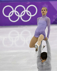 February 15, 2018 - Pyeongchang, KOREA - Alexa Scimeca Knierim and Chris Knierim of the United States compete in pairs free skating during the Pyeongchang 2018 Olympic Winter Games at Gangneung Ice Arena. (Credit Image: © David McIntyre via ZUMA Wire)