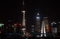 Shanghai, China - April 9, 2013: pudong waterfront at night at the city of Shanghai in China on april 9th, 2013