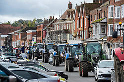 © Licensed to London News Pictures; 23/10/2020; Marlborough, UK. Save British Farming protest with tractors through the centre of Marlborough campaigning to maintain food standards which are under threat from a post-Brexit trade deal with the USA. There's a family stand off with local MP for Devizes, Danny Kruger, who rejected the Lords' amendments to the Agriculture Bill to maintain food and environmental standards. But his mother the famous cook Prue Leith is asking to keep those standards and Save British Farming want his mother to win this argument with the aid of tractors. Photo credit: Simon Chapman/LNP.