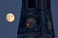 Goshen, New York - The almost-full moon shines on Oct. 6. 2014.