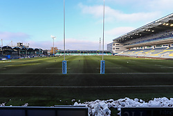 Snow remains at both ends of the Sixways pitch - Mandatory by-line: Nick Browning/JMP - 09/01/2021 - RUGBY - Sixways Stadium - Worcester, England - Worcester Warriors Women v DMP Durham Sharks - Allianz Premier 15s