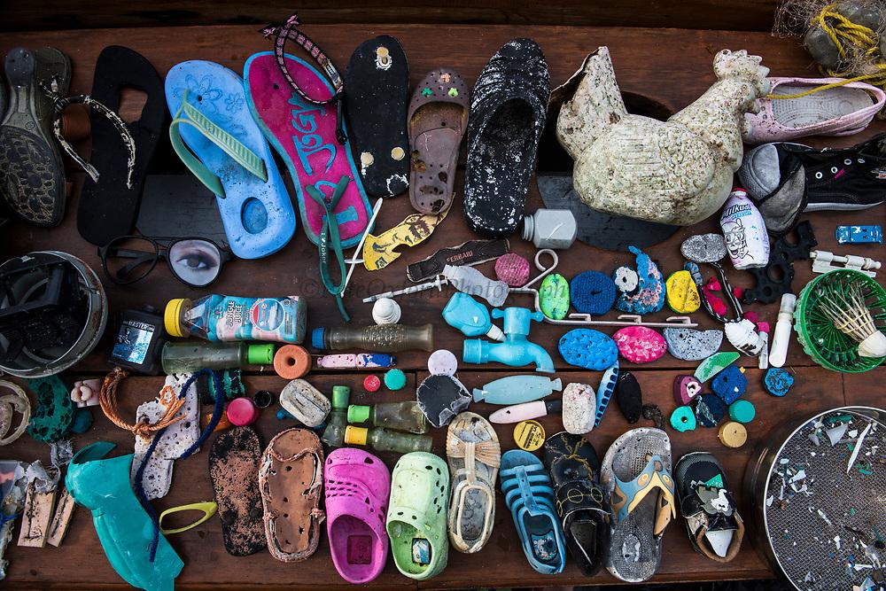 Marine plastic pollution<br /> West Nusa Tenggara <br /> Lesser Sunda Islands<br /> Indonesia<br /> Items collected on beach walk