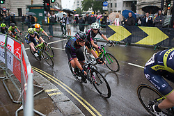 Barbara Guarischi (ITA) of CANYON//SRAM Racing leans into a corner on Trafalgar Square during the Prudential Ride London Classique - a 66 km road race, starting and finishing in London on July 29, 2017, in London, United Kingdom. (Photo by Balint Hamvas/Velofocus.com)