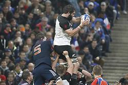 France's Paul Gabrillargues battles New-Zealand's Samuel Whitelock during a rugby friendly Test match, France vs New-Zealand in Stade de France, St-Denis, France, on November 11th, 2017. France New-Zealand won 38-18. Photo by Henri Szwarc/ABACAPRESS.COM