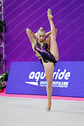Moustafaeva Kseniya of France competes during the Rhythmic Gymnastics Individual ball qulification of the World Cup at Vitrifrigo Arena  on May 28, 2021,in Pesaro Italy. She is a French individual rhythmic gymnast of Belarusian origin born in Minsk in 1994.