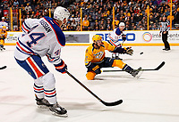NASHVILLE, TN - FEBRUARY 02:  Anthony Bitetto #2 of the Nashville Predators tries to block a pass from Jordan Eberle #14 of the Edmonton Oilers to teammate Mark Letestu #55 during the second period at Bridgestone Arena on February 2, 2017 in Nashville, Tennessee  (Photo by Frederick Breedon/Getty Images)