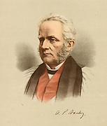 'Arthur Penrhyn Stanley (1815-1881) English churchman.   Known as Dean Stanley after he became Dean of Westminster in 1863. Scholar and liberal  theologian, Regius Professor of eccesiastical history at Oxford 1856-1863.  Tinted lithograph c1880.'