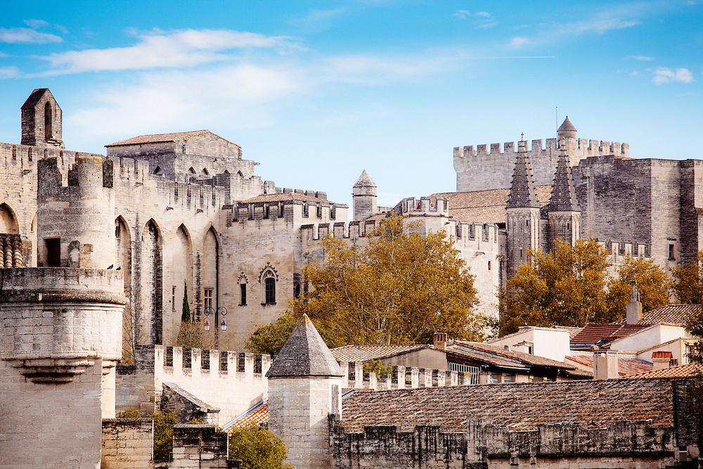 The buildings of the Palais des Papes, a UNESCO World Heritage Site, Avignon.