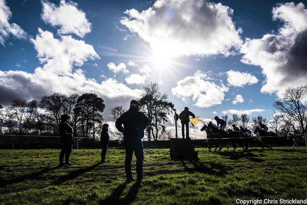 Friars Haugh, Kelso, Scottish Borders, UK. 19th March 2017. The Duke of Buccleuch Hunt hold their annual Point to Point steeplechase fixture in the town of Kelso near the banks of the River Tweed at Friars Haugh.
