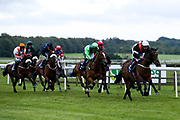 Lauberhorn Rocket ridden by Charlie Price and trained by Tim Vaughan, Star of Athena ridden by Kieran O'Neill and trained by Ali Stronge, Hidden Depths ridden by Liam Keniry and trained by Neil Mulholland, Homing Star ridden by Shane Kelly and trained by Graeme McPherson, Earthly ridden by Joey Haynes and trained by Bernard Llewellyn, Sinndarella ridden by Raul Da Silva and trained by Sarah Hollinshead, Vexillum ridden by Darragh Keenan and trained by Neil Mulholland, Snow Leopard ridden by Sophie Ralston and trained by Tony Carroll, Leodis ridden by John Fahy and trained by Stella Barclay, Shadow's Girl ridden by Gavin Ashton trained by Bernard Llewellyn in the Sky Sports Racing Sky 415 Handicap - Mandatory by-line: Robbie Stephenson/JMP - 18/07/2020 - HORSE RACING- Bath Racecourse - Bath, England - Bath Races 18/07/20