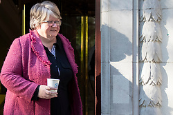 © Licensed to London News Pictures. 02/09/2020. London, UK. Secretary of State for Work and Pensions Thérèse Coffey departs television studios near Parliament after appearing on Kay Burley at Breakfast. Photo credit: George Cracknell Wright/LNP