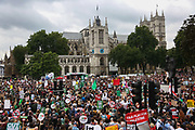 The assembly in Parliament Square. The anti-austerity march, the People's Assembly saw tens of thousands marching and protestin in the streets of London against the newly elected conservative government.