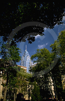 Rittenhouse Square Park, Trees, Silver Skyscraper through Trees, Philadelphia, PA