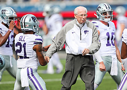 Sep 22, 2018; Morgantown, WV, USA; Kansas State Wildcats head coach Bill Snyder shakes hands with Kansas State Wildcats wide receiver Wykeen Gill (21) before their game against the West Virginia Mountaineers at Mountaineer Field at Milan Puskar Stadium. Mandatory Credit: Ben Queen-USA TODAY Sports