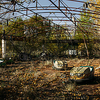 October 2005 Ukraine - Images of Chernobyl and area . Images of Chernobyl in Ukraine and the town of Prypiat and surroundings showing the aftermath and consequences of the nuclear accident on Saturday 26 April 1986, at the No. 4 reactor in the Chernobyl Nuclear Power Plant. Images show the abandoned town of Pripiat and the quarantined vehicles and helicopters used to fight the fire at the plant after the explosion.